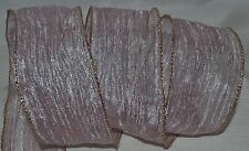 Wired Ribbon~Sheer~Metallic Pastel Pink Crinkle~Gold~Holiday~Wreath~Gift~Bow