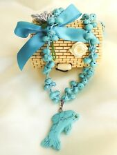 TURQUOISE beaded NECKLACE NATURAL HAND CARVED DOLPHIN PENDANT in box