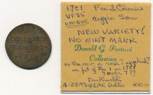 >>UNIQUE(?)<< 1721 FRENCH COLONIES 9 DENIERS (SOU) NO MINT MARK & MORE > NO RSRV