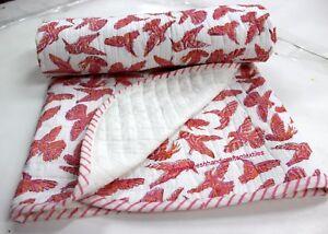 Hand Block Bird Print quilt Kantha baby Quilt Baby New Kanth Throw Blanket _S438