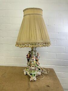 Antique German Porcelain Dresden Style Figurine Group Table Lamp
