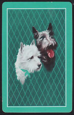 1 Single VINTAGE Swap/Playing Card DOGS SCOTTIE & WESTIE HEADS Green Lattice B/G