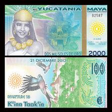 Maya Yucatania Yucatan 2000 Mil Soles De Oro, Polymer,original, 2012(2013), UNC