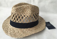 Hackett London Mens Leigh Straw Fedora Lattice Panama Trilby Hat Size S NEW