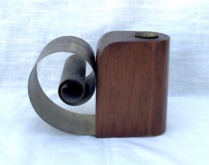 Vintage Mid-Century Walnut Wood and Brass Candle Holder/Sculpture
