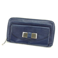 Chloe Wallet Purse Long Wallet Navy Gold Woman Authentic Used S420
