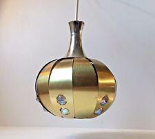 Vtg Danish Mid Century Coronell Brass Pendant Lamp Jo Hammerborg Carl Thore era