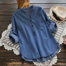 779e2cf7 UK Womens Buttons V Neck Long Sleeve Shirt Jeans Ladies Denim Look Tops  Blouse