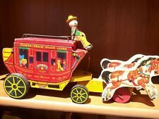 1954 Early Fisher Price Wooden #175 Gold Star Stagecoach Horses Pull Toy