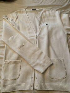 Ladies Lacoste Cream Cardigan Size 48