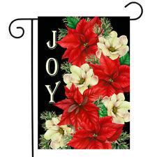 """Joy Poinsettias Christmas Garden Flag Floral Greenery 12.5"""" x 18"""" Briarwood Lane"""