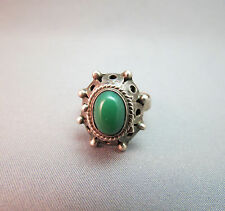 Taxco Poison Ring Mexico Signed Jpc 925 Green Color Stone Adjustable 6.2g Vtg