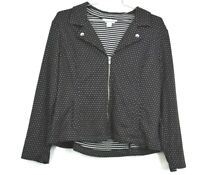 Christopher & Banks Petite Womens Polka Dot Zip Front V Neck Jacket Size PXL