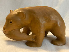 """Vintage Hand Carved Wood Grizzly Bear with Fish Figure Statue 7"""" long"""