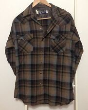 Vtg Panhandle Slim Wool Shirt Size Mens M 15 1/2 Plaid Western Snap Made in USA