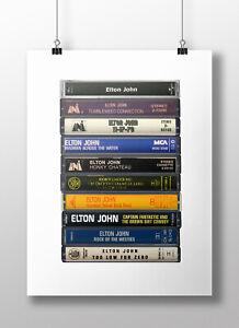 Elton John Poster: Cassette Print, Original Albums, Fan, Gift, Art