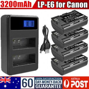 2/4x 3200mAh LP-E6 Battery /USB Charger for Canon EOS 5D Mark III 80D 70D 7D 60D