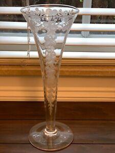 Vintage Hawkes Signed Glass Trumpet Etched Vase