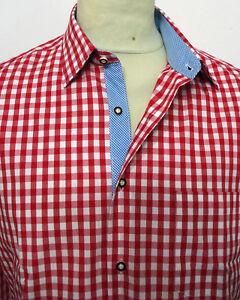 Trachtenhemd rot-weiss kariert Klassiker in Baumwolle von XS bis 5XL Neu