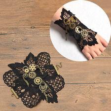 Vintage Steampunk Bracelet Gears Wrist Cuff Black Costume Party Deco Hollow Out