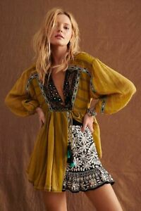 Free People NWT Size XL Sabeena Embroidered Tunic Top NEW