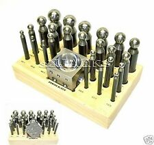 26 pc Doming Dapping Jewelry Leather Copper Metal Crafts Block & Punch Tool Set