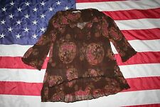 Maurices Brown Floral Sheer Wrinkle Peasant Top Size Medium: shirt/blouse #4874