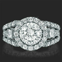 2.8 CTW Round Cut Diamond Wedding Engagement Women's Ring 14k Real White Gold