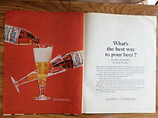 1966 Budweiser Beer Ad What's the best way to Pour Beer?