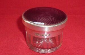 Guilloche Enamel, Silver & Glass Vanity Jar by Asprey & Co Ltd, Birmingham 1926