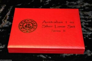 AUSTRALIA 1 OZ SILVER LUNAR SERIES II RED PRESENTATION BOX HOLDS 2008-2019 SET