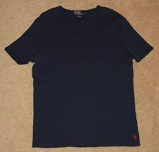 Mens Vintage Polo Ralph Lauren Cotton Ribbed Crew Neck S/S Heavy T Shirt Blue-L