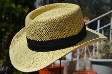 Men's Panama Gambler Woven Straw Fedora Porkpie Vent Air Summer Hat 58-59 cm