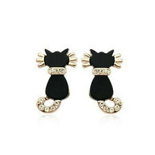 LOVELY 18K ROSE GOLD PLATED GENUINE AUSTRIAN CRYSTAL BLACK ENAMEL CAT EARRINGS