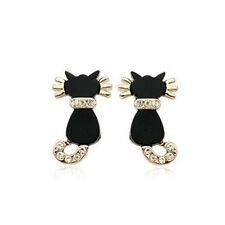 LOVELY 18K ROSE GOLD PLATED GENUINE AUSTRIAN CRYSTAL BLACK ENAMEL CAT EARRINGS