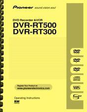 Pioneer DVR-RT500 DVR-RT300 DVD Recorder & VCR OWNER'S USER MANUAL