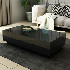 Modern Coffee Table 4-Drawer Side Table High Gloss Living Room Furniture - Black