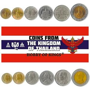 Set 6 Coins Thailand 25 50 Satang 1 2 5 10 Baht 1986 - 2008