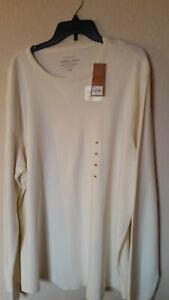Men's Sonoma Life + Style Thermal Crew Shirt White Long Sleeve Sz XXL NWT