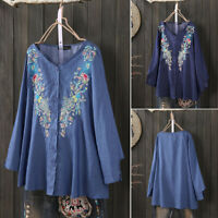 ZANZEA Women Buttons Shirt Tops Embroidered Shirts Loose V Neck Blouse Plus Size