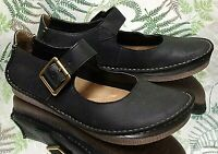 CLARKS BLACK LEATHER LOAFERS SLIP ON COMFORT MOCCASINS SHOES US WOMENS SZ 7.5 M