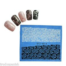 Nail Art Water Transfers Stickers Decals White Black Flowers Roses Gel Polish 14