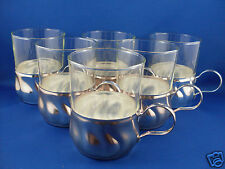 RARE Vintage QUIST WEST GERMANY (12 Pcs) Glass & Metal Holders Cups VG - In Aust