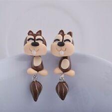 Squirrel Earrings Handmade Polymer Clay Cartoon Grey Squirrel Earrings Animal E