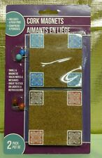 Bulletin Board 2 Cork Square Magnet 4 Push Pins Messages Office Locker Notes NIP