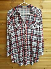 Ladies Blue & Red Check Stretch Shirt Dress Size M 12-14 by Passport