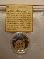 2 Euro Farbmünce  Andorra Regierungsitz mit reinstem Gold 999/1000 veredelt.