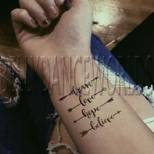 2 SET CUTE ARROW DREAM LOVE HOPE BELIEVE TEMPORARY TATTOO QUOTE WRIST STICKER