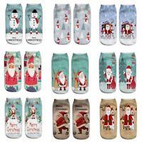 3D Print Santa Claus Harajuku Socks Low Cut Women Boat Sock Xmas Gift TR