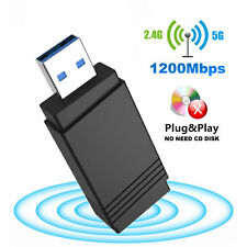 Wireless WiFi Adapter Dongle Dual Band USB 3.0 1200Mbps Bluetooth 5.0 For PC Mac